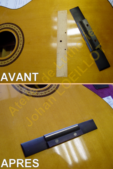 Re-collage d'un chevalet de guitare classique