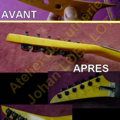 Réparation d'une tête cassée sur guitare Lag