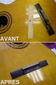 Recollage d'un chevalet de guitare classique