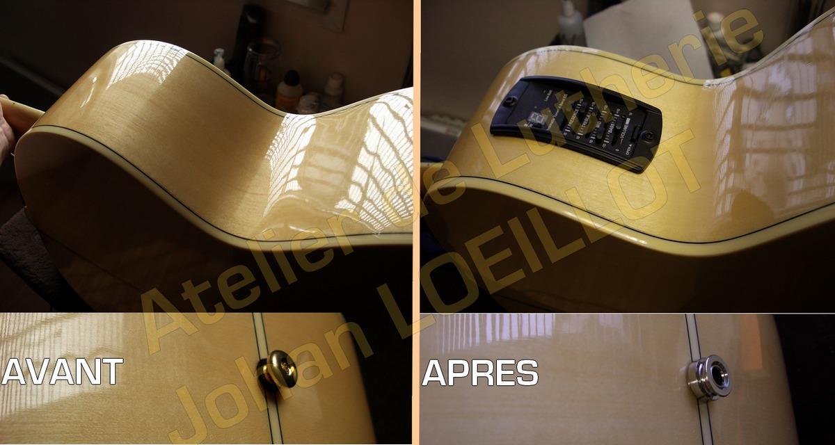 Electrification d'une guitare acoustique Epiphone EJ200