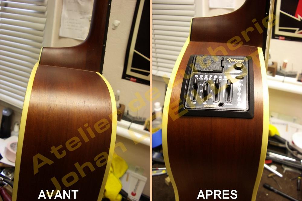 Electrification d'une guitare acoustique Takamine EG