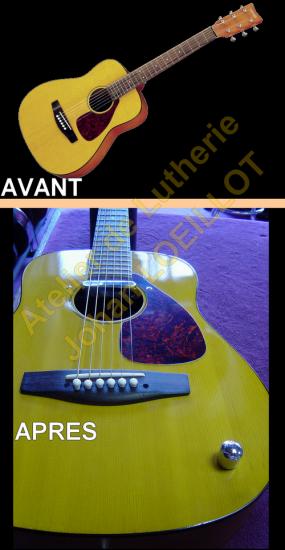 Electrification d'une guitare acoustique Yamaha Mini