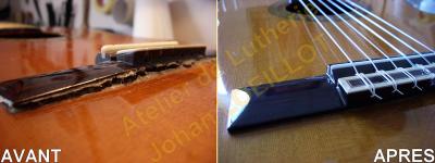 Re-collage d'un chevalet de guitare classique espagnole