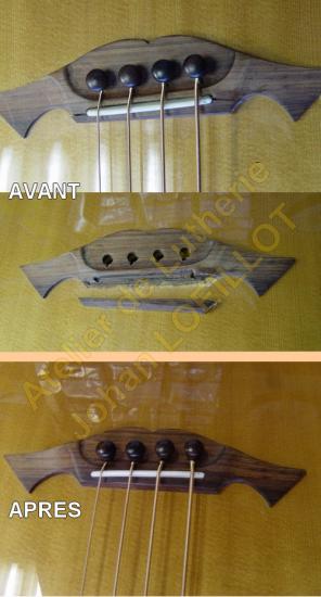 Réparation d'un chevalet de basse acoustique Takamine