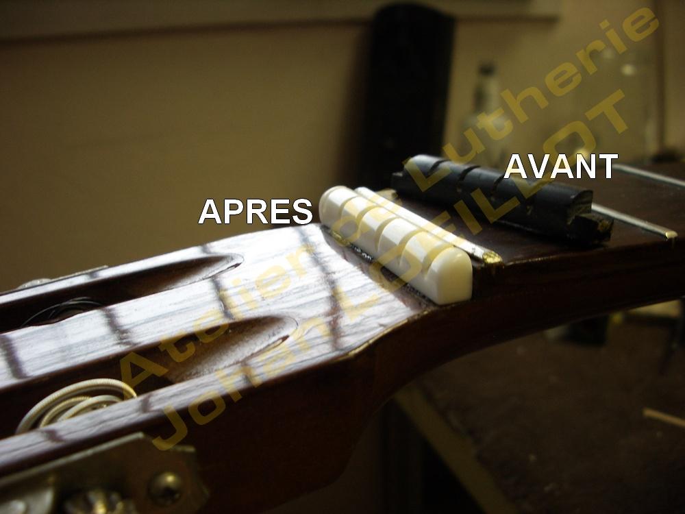 Fabrication d'un sillet de tête pour guitare classique