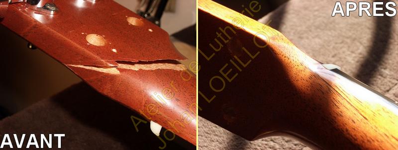 Réparation d'une tête cassée sur guitare Martin