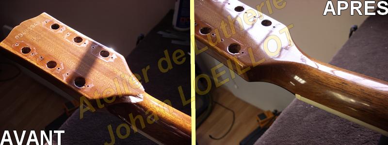 Réparation d'une tête cassée sur Gibson ES-175